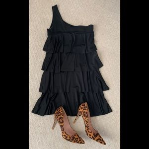 One shoulder ruffle tiered dress